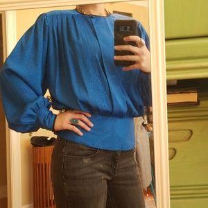 VTG Cobalt Blue Shimmery Peplum Style Blouse